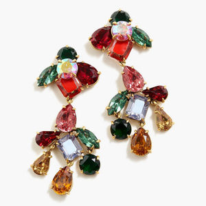 🔥NWT JCrew Multicolor CrystalDrop Dangle Earrings